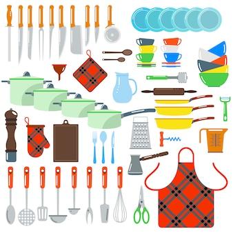 Kuchnia naczynia wektor płaskie elementy na białym tle