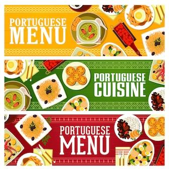 Kuchnia portugalska banery wektor żywności z gulaszem mięsnym feijoada, zupa jarzynowa caldo verde i dorsz rybny bacalhau. pasta tarta jajeczna, kanapka z frytkami i mus czekoladowy, likier wiśniowy, grillowana ośmiornica