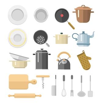 Kuchnia rozdaje płaskie ikony odizolowywał gospodarstwa domowego wyposażenia naczynia codziennego meble ilustrację.