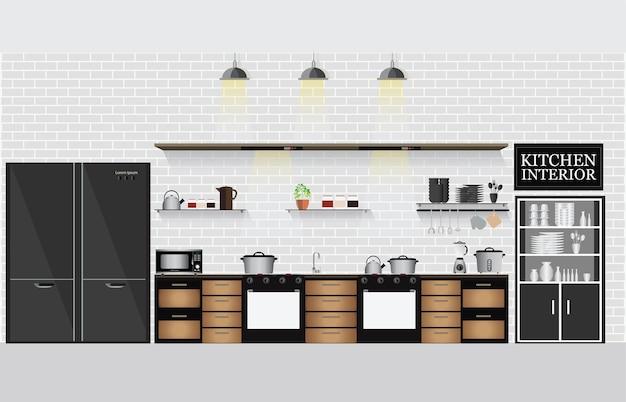 Kuchnia wewnętrzna z półkami w kuchni i naczyniami do gotowania.