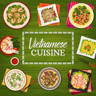 Kuchnia wietnamska wektor jedzenie wietnamu plakat