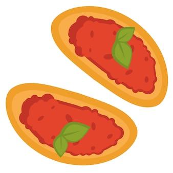 Kuchnia włoska i proste przekąski. ikona na białym tle chleb tostowy z kawiorem i bazylią. sos pomidorowy na bułce z miętą. menu restauracji lub baru, przepisy na domową kuchnię. wektor w stylu płaskiej