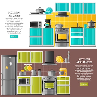 Kuchnia wnętrza poziome banery