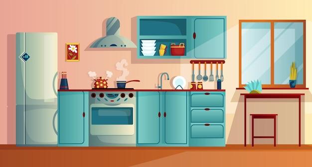 Kuchnia wnętrza witn meble kreskówka wektor ilustracja. domowa kuchnia z drewnianym stołem jadalnym, szafkami kuchennymi, lodówką z piekarnikiem, płytą grzejną i okapem. sprzęt do domu.