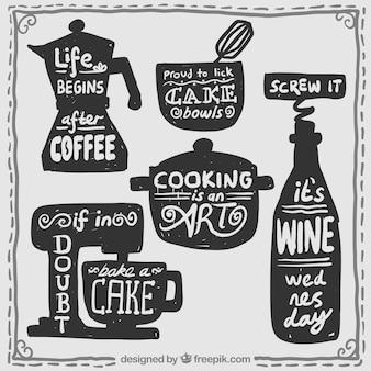 Kuchnia z napisem rzeczy