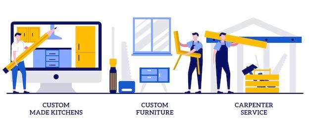 Kuchnie na zamówienie, projektant mebli, koncepcja usług stolarskich z malutkimi ludźmi. projekt wnętrz mieszkania streszczenie wektor zestaw ilustracji. wyposażenie domu, metafora remontu domu.