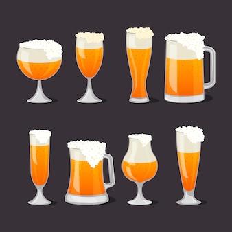 Kufle do piwa z pianką w stylu cartoon
