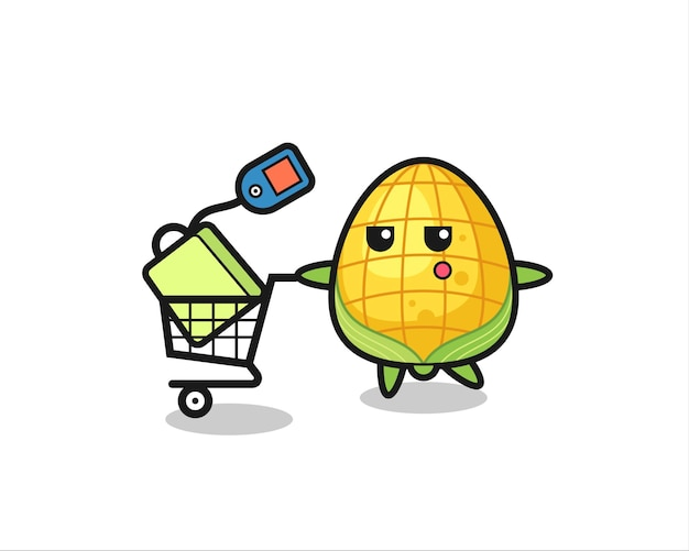 Kukurydza ilustracja kreskówka z wózkiem na zakupy, ładny styl na koszulkę, naklejkę, element logo