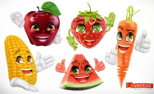 Kukurydza, jabłko, truskawka, arbuz, marchew. śmieszne postacie z kreskówek. jedzenie dla dzieci