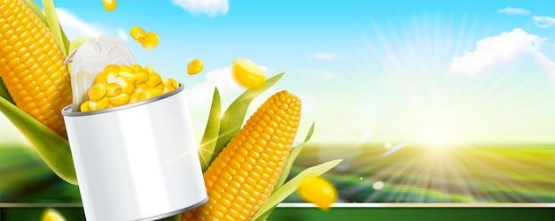 Kukurydza kukurydziana może banery reklamowe na ilustracji 3d na tle zielonego pola bokeh