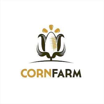Kukurydza logo słodkie gospodarstwo rolnictwo wektor