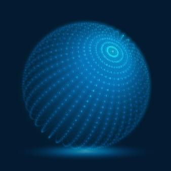 Kula cyber wektor. niebieska sfera dużych zbiorów danych z ciągami liczb binarnych. reprezentacja struktury kodu informacji. analiza kryptograficzna. transfer blockchain bitcoin.