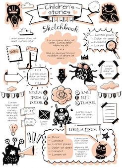 Kula czasopisma doodle elementy infografiki. dziennik punktora doodle elementy infografiki i potwory dla dzieci. ręcznie rysowane zdjęcia w stylu kreskówek. plakat pionowy