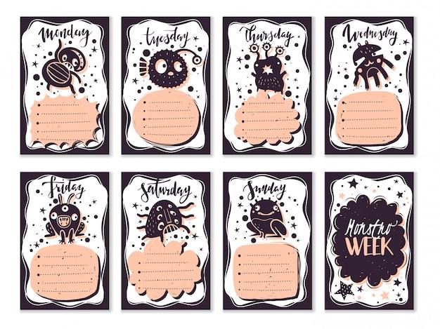 Kula czasopisma doodle zestaw kart potworów. tygodniowy planer szkolny dla harmonogramu lekcji i zadań. potwory w stylu doodle. ręcznie rysowane elementy