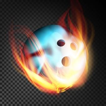 Kula do kręgli w realistyczny wektor ognia