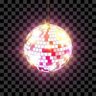 Kula dyskotekowa z promieniami światła na przezroczystym tle.