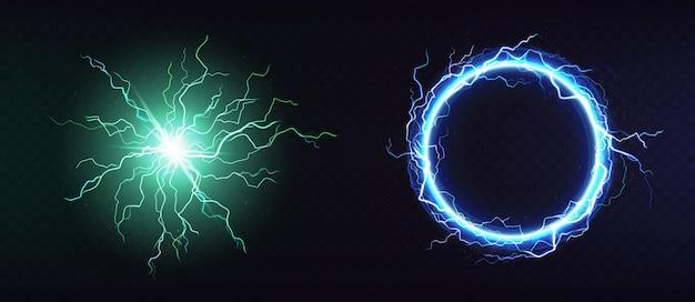 Kula elektryczna, okrągła ramka błyskawicy 3d