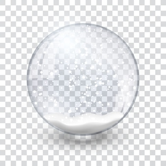 Kula śnieżna kula realistyczny nowy rok obiekt chrismas na białym tle na przezroczystym tle z cieniem