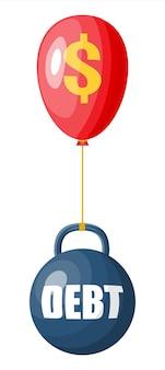 Kula zadłużenia przykuta do balonu ze znakiem dolara. duży ciężki dług z kajdanami i pieniędzmi. obciążenia podatkowe, przestępstwa finansowe, opłaty, kryzys i upadłość. ilustracja wektorowa w stylu płaski