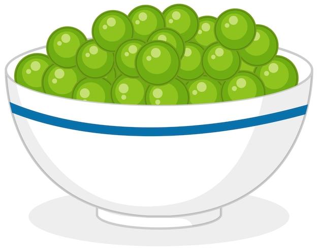 Kula zielonego cukierka w misce na białym tle
