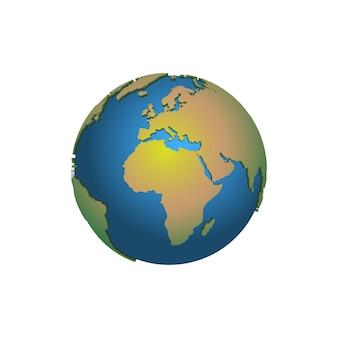 Kula ziemska. mapa ziemi. mapa świata. planeta. ilustracja