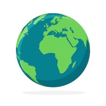 Kula ziemska na białym tle. ikona mapy świata. kolorowa półkula ziemi. ilustracja.