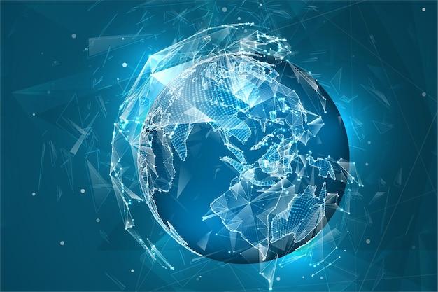 Kula ziemska, planeta ziemia, z kropek. koncepcja bigdata, przetwarzanie i gromadzenie danych