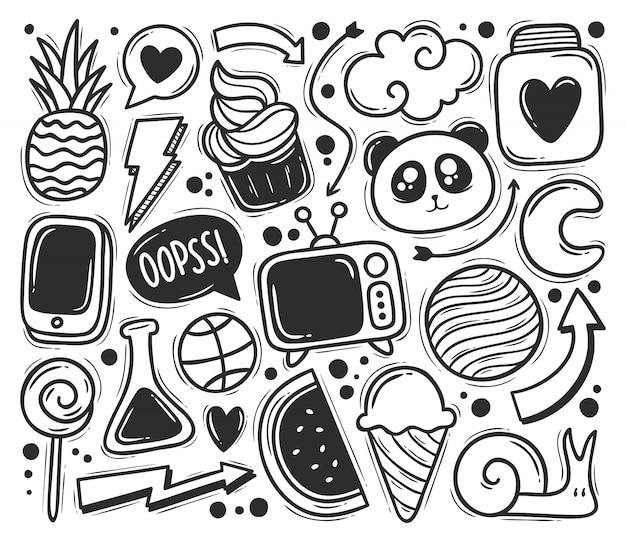 Kulas streszczenie ikony ręcznie rysowane doodle kolorowanki