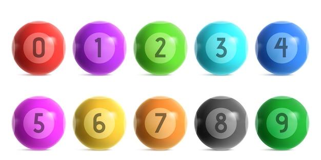 Kule loterii bingo z numerami od zera do dziewięciu. wektor realistyczny zestaw błyszczących kolorowych kulek do gry lotto keno lub bilard. 3d błyszczące kule do gier hazardowych w kasynie na białym tle