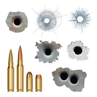 Kule realistyczne. uszkodzone, popękane powierzchnie otworów pistoletowych i kule z kolekcji karabinów pancernych różnego kalibru. ilustracja uszkodzenia od pistoletu, pęknięcie kuli