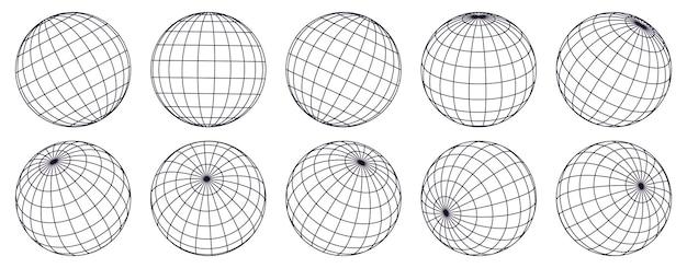 Kule siatki kuli ziemskiej. sfery 3d w paski, siatka kuli geometrycznej, zestaw siatek linii długości i szerokości geograficznej ziemi