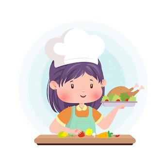 Kulinarna karmowa śliczna charakteru pojęcia ilustracja gotuje w domu