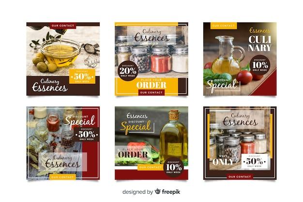 Kulinarna kolekcja postów na instagramie ze zdjęciem