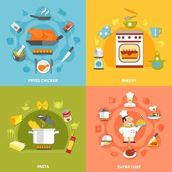 Kulinarna koncepcja płaski
