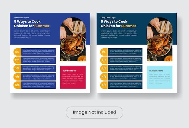Kulinarne porady kulinarne dla mediów społecznościowych post zestaw szablonów banerów. ilustracja wektorowa eps 10
