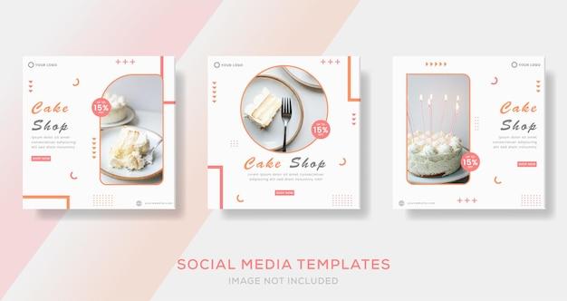 Kulinarny baner ciasta dla szablonu menu żywności post premium
