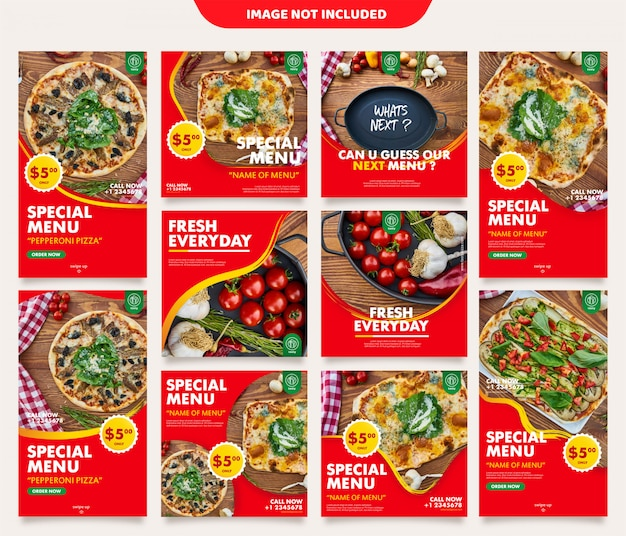 Kulinarny instagram stories feed post szablon