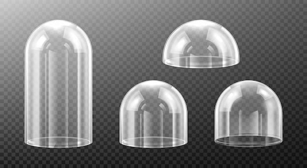 Kuliste szklane kopuły na przezroczystym