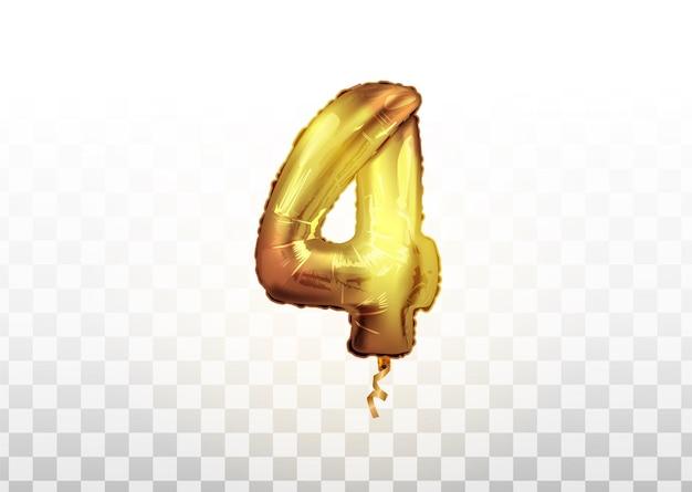 Kulka foliowa numer 4 złota. strona dekoracji złote balony. rocznica znak na szczęśliwe wakacje, uroczystości, urodziny, karnawał, nowy rok.