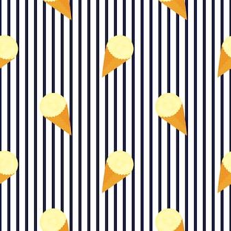 Kulki lodów owocowych w wzór stożek wafel.
