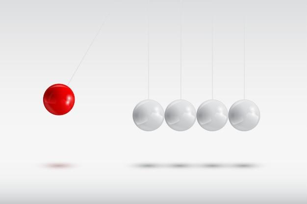 Kulki szare i czerwona, kołyska newtona, ilustracja