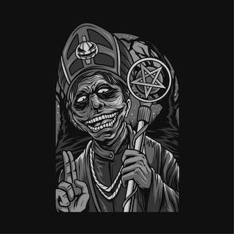 Kultowe nocne rytuały halloween czarno-biała ilustracja