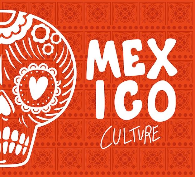 Kultura meksyku z wzorem czaszki.