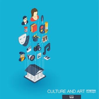 Kultura, sztuka zintegrowane ikony internetowe. koncepcja postępu izometrycznego sieci cyfrowej. połączony system wzrostu linii graficznych. tło dla artysty teatralnego, muzyki, rachunku cyrkowego. infograf