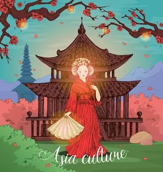 Kultury azjatyckiej ręcznie rysowane projekt