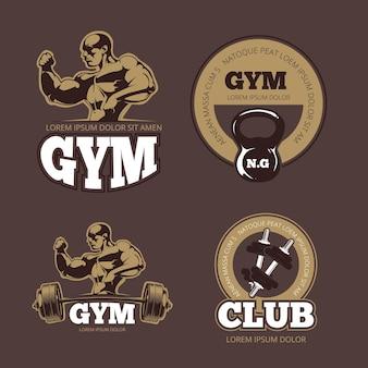 Kulturysta i siłownia vintage herby. kulturysta siłownia, logo sztangi, siła mięśni kulturysta, ilustracja etykiety kulturysty sportowca