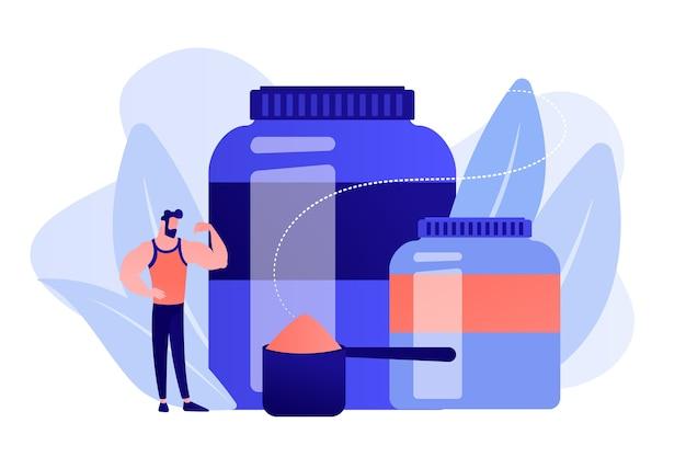 Kulturysta z plastikowymi pojemnikami dla sportowców z proszkiem proteinowym. odżywianie sportowe, suplementy sportowe, koncepcja stosowania pomocy ergogenicznych. różowawy koralowy bluevector ilustracja na białym tle