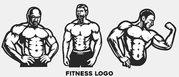 Kulturysta z pozą, logo siłowni, fitness mięśni, trening, płaski wektor ilustracja