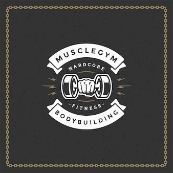 Kulturystyka logo lub odznaka ilustracja męskiej ręki trzymającej hantle symbol sylwetka