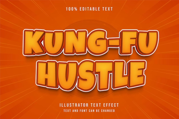 Kung-fu hustle, edytowalny efekt tekstowy żółty gradacja pomarańczowy komiksowy cień tekstowy